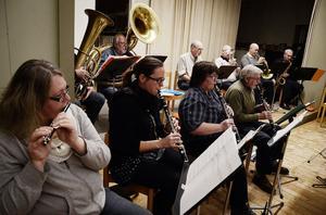 Ströms bruksorkester består av femton musiker och de flesta blåsinstrument finns representerade.