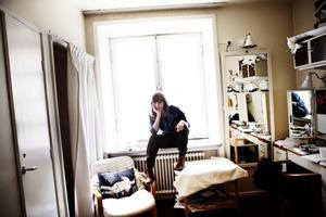 Sanna Sundqvist från Härnösand i sin loge på Dramaten. På fredag kväll har hennes enmansföreställning