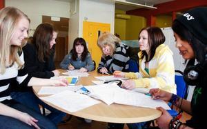 Högstadieeleverna på Vattudalsskolan i Strömsund har lite olika åsikter om energidryckernas vara eller icke vara. De flesta tycker dock att den åldersgräns på 18 år som handlarna i samhället satt upp för inköp är för hög. Här ett gäng tjejer i åttan, från vänster, Kim Månsson, 15 år, Moa Pengermaa, 14, Maja Hansson, 15, Jessica Engström, 14, Emelie Eriksson, 14, och Nadifa Lindfors, 15.