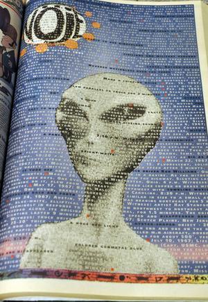 UFO-föreningen Urkraft besöktes, därför fick förstasidan den 20 oktober 1995 spela på vår uppfattning om utomjordingar. Fredrik Eriksson stod för formen.