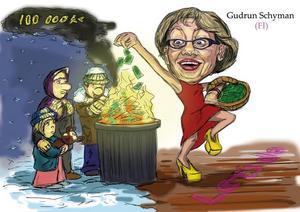 Gudrun Schyman när hon brände pengar under Almedalsveckan. Teckning: Fredrik Oregård