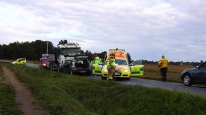 Här på länsväg 538 vid Götabro inträffade dödsolyckan. En personbil kolliderade med en lastbil.