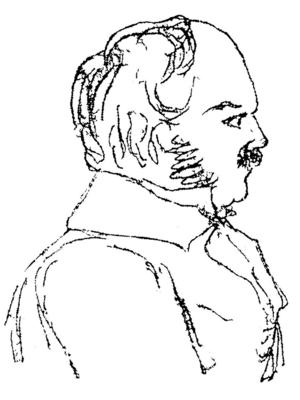 Så här ritade Ferdinand Tollin sig själv i blyerts omkring 1840.