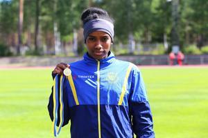 Feben Tewelde tävlar för Järvsö IF och tog guld i längd och höjd på Fortum-spelen 2016.
