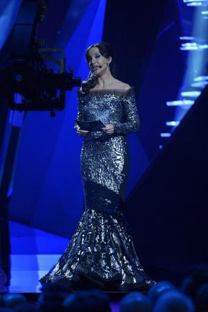 Petra Mede i aktion som programledare för semifinalen i Eurovision Song Contest.