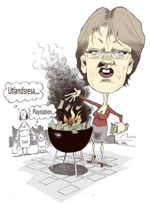 Gudrun Schyman eldade upp hundra tusen kronor i protest mot löneskillnaderna mellan män och kvinnor.