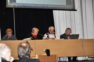 Dessa personer ska hålla ordning på fullmäktige kommande fyra år: Ingrid Nilsson, kommunsekreterare, Majken Bergqvist (S), ordförande, Jan-Olof Olofsson (M), 1:e vice ordförande och Thommy Johansson (S), 2:e vice ordförande.