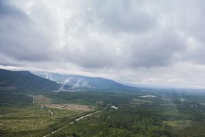 Helikopterturen bjöd på vackra vyer med utsikt över bland annat Björnberget i Härjedalen.
