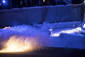 Det bjöd på rejäla snömoln runt rallyessen.