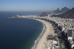 Den Olympiska beachvolley-arenan på Copacabana Beach i Rio de Janeiro.
