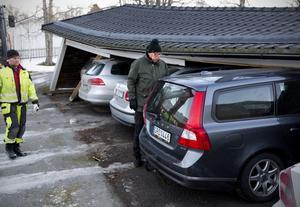Lars-Eric Westin drabbades av stormen när carporten rasade samman på hans bil stod parkerad på Johannesbergsgatan.