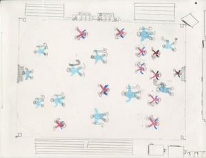 Alexander Voxlin, 10 år, Alfta, 4B. 1996.har tecknat Ön-idrottsplatsen i Edsbyn.