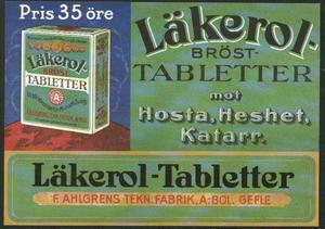 Så här såg Läkerolasken ut under de första åren. Adde Holmstedt lade ner hela sin yrkesheder i att designa såväl själva asken som reklammaterial kring den. Och eftersom asken ser nästan exakt likadan ut i dag kan man väl påstå att han gjorde ett ganska bra jobb.