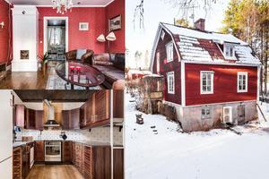 På Hinsnorsvägen 11 i Falun ligger det här huset bredvid ett skogsparti.