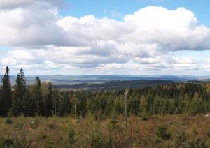 Från Stavsberget syns Voxnans dalgång och bergen i norr.