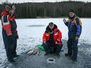Rolf Nilsson från Lunde, med nio fiskar på två lösta kort, diskuterar isfiskets finesser med FVF Öringens Klas Pettersson och Lennart Kock.