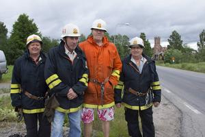 När kyrkan brann fanns det fortfarande en deltidskår i Trönö. Kenneth Engmalm, Leif Bergman, Anders Tång och Bengt-Olov Eriksson minns den branden som den värsta.