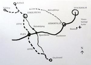 På väg till Eskilstuna från Sparreholm överfölls ingenjör Upmarks vagn. Illustration: Bo Stjernström