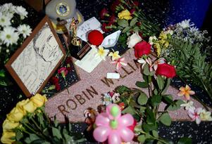 Blommor och hyllningar till Robin Williams placerade vid hans stjärna på Walk of Fame i Hollywood.