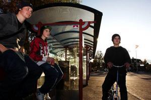 """Mattias Ljungberg, André Hammargård och Rasmus Johansson har varit på hockeyträning och stannar till en stund vid busshållplatsen och pratar innan de säger hejdå till varandra. De säger att det största nöjet i Sveg är att cykla eller åka moppe runt Statoil.""""Ibland har vi roligt, men det är klart att det borde hända mer. Man vill ju ha mer party. Vi ser fram emot Björnfesten senare i höst"""", säger de."""
