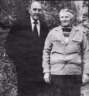 Ragnar Rudfalk till vänster och Osvald Harrijo möttes vid några tillfällen även senare i livet. Bilden är tagen vid en träff i Göteborg på 1980-talet.