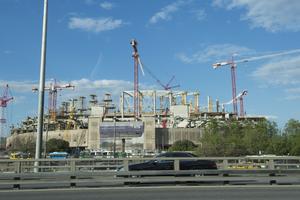 En fotbollsstadion uppförs inför fotbolls-VM 2018. Bilden tagen i Moskva.