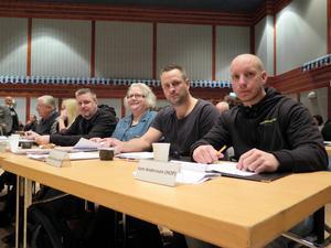 Hoforspartiets fyra ledamöter i fullmäktige: Peter Hillblom, Anne Persson, Mathias Strand och Kent Andersson.
