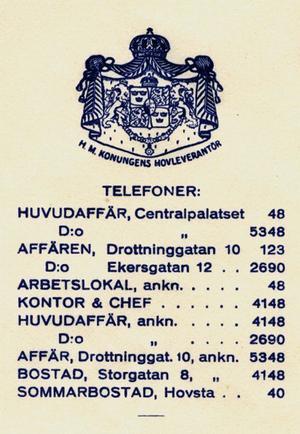 Kungligt. Brevpapperet är från 1939 och visar att Hälls blivit kunglig hovleverantör. Man hade kondis på tre ställen i staden. Och per telefon gick det alltid att få tag i hovkonditorn: Sommarbostad, Hovsta, telefon 40.