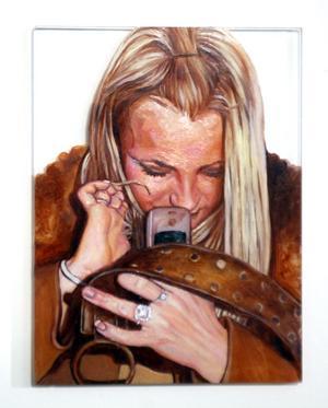 KÄNDISporträtt. Elin Elfströms Britney Spears, olja på glas.