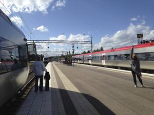 Fyra tåg väntade i kö på att kunna köra från Söderhamns resecentrum på måndagseftermiddagen. Träd på kontaktledningen mellan Gävle och Söderhamn orsakade stora förseningar i tågtrafiken.