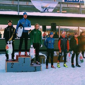 Markus Johansson på andraplatsen på pallen i Idre.