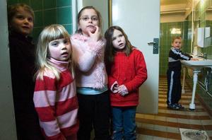 Ella Olsson, Alva Håll, Nadja Persson, Paprika Åström och Johannes Brännström önskar fräschare toaletter på Sågmyraskolan.