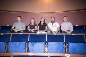 Från vänster i bild provsitter Jonas Elverstig, Karin Andersdotter, Monika Wahlberg, Kai Halminen och Peter Egerfält.