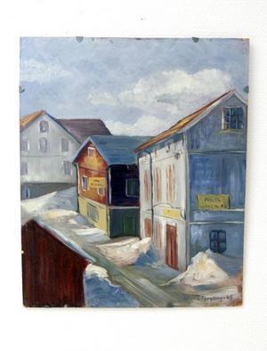 Till minnet av en tid. Wivica Forslings måleri nådde aldrig de stora salongerna men uppmärksammas nu åter. Bilden visar Hantverkargatan vid Tjenellska gården.