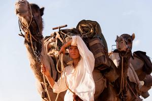 Robyn Davidson (Mia Wasikowska) går genom öknen med sina kameler och sin hund som sällskap i den sanna berättelsen