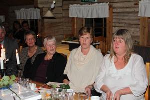 Sjung med uppmanade allångsledaren. Fr.v Undersköterskan Ingrid Persson och dagisfröknarna Kerstin Nordin, Monica Eriksson och Gunilla Magnusson hakade på.