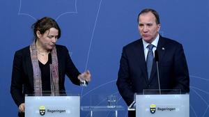 Åsa Romson (MP) och Stefan Löfven (S) vill ge Sverige ett andrum i flyktingmottagandet.