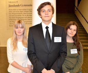 Cassandra Huber, Emil Juslin och Agnes Olofsson arrangerade sessionen i Europeiska ungdomsparlamentet.