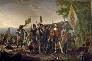 Christofer Columbus kliver iland i Västindien 1492. Målning av Johan Vanderlyn från 1847.