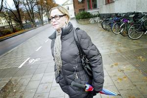 – Jättebra! Nu kanske folk slutar cykla på trottoarerna, säger Karin Rudolf om de tydliga symbolerna för gång- respektive cykeltrafik.