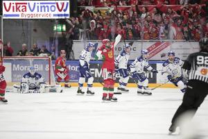 Eric Castonguay och Leksandslägret deppar efter Oskar Svanlunds mål.