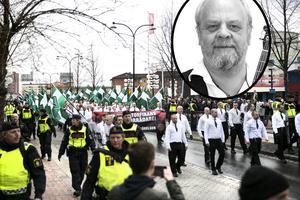 Frågan är vems ansvar det är att stå emot när politikerna sviker - för det är vad de gör när de ger tillstånd för nazister att demonstrera -  de har grundlagen med sig om de skulle vilja förbjuda den möjligheten(...) Då vilar ansvaret på dig och mig. Bilden är ett montage. Foto: Lars Dafgård/privat.