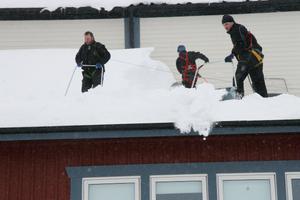 Målet är att få bort taksnön på kafédelen och omklädningsrumsdelen på Arenan i Edsbyn där yrsnön hade byggt upp ett två meter högt snöberg mot väggen. Man har kallat in proffs på att jobba på tak och som har rätt säkerhetsutrustning.