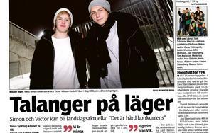 VLT den 2 februari 2010. Simon Lindh och Victor Nilsson Lindelöf uttagna till P15-landslagsläger på Bosön.