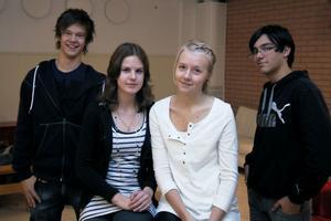 Viktor Kuhles, Sara Wängmark, Hanna Ingesson och Miki Gzaiel-Claesson var alla tagna efter heldagen om förintelsen i Celsiusskolan i Edsbyn. Mietek Grocher som överlevde förintelsen gjorde starkt intryck på dem.