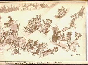 Louis Wains kattungar njuter av vinterns och julhelgens nöjen i snön.