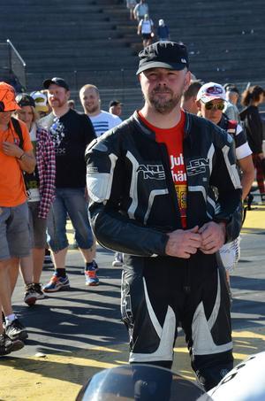 Nichlas Sverin från Färila tog andrapaltsen i Super compbike.