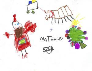 Nathalie 5år från Gävle, har målat en teckning till Tomten. God Jul!