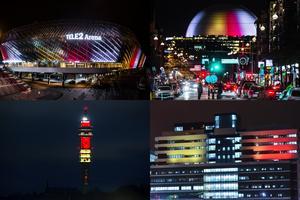 Tele 2 Arena, Globen, Kaknästornet och Nya Karolinska upplyst i de belgiska färgerna på onsdagskvällen för att hedra offren för terrorattackerna i Bryssel.