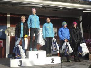 Prisutdelning till de kvinnor som var bäst på 9 kilometer.